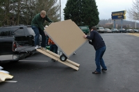 Unloading the box.